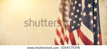 American flag for Memorial Day, 4th of July or Labour Day Royalty-Free Stock Photo #1069579298