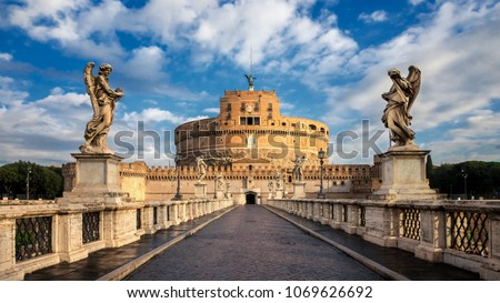 Castel Sant Angelo or Mausoleum of Hadrian in Rome Italy, built in ancient Rome, it is now the famous tourist attraction of Italy. Castel Sant Angelo was once the tallest building of Rome. #1069626692