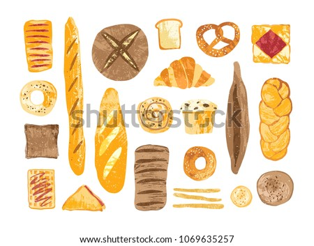 Bundle of breads and homemade baked products of different types, shapes and sizes isolated on white background - loaf, bun, baguette, toast, muffin, pretzel, waffle. Hand drawn vector illustration.