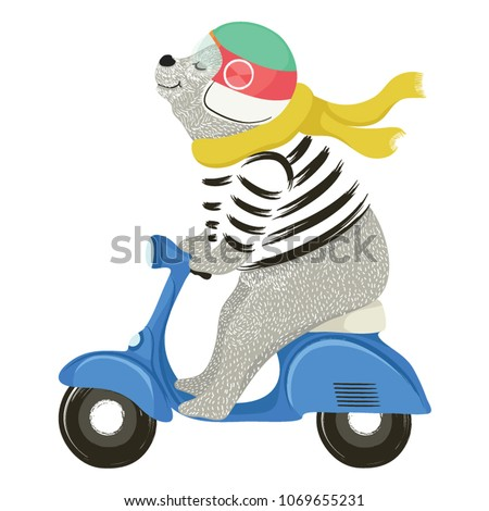 Cute bear on motorcycle vector design.Animal illustration.T shirt graphic.