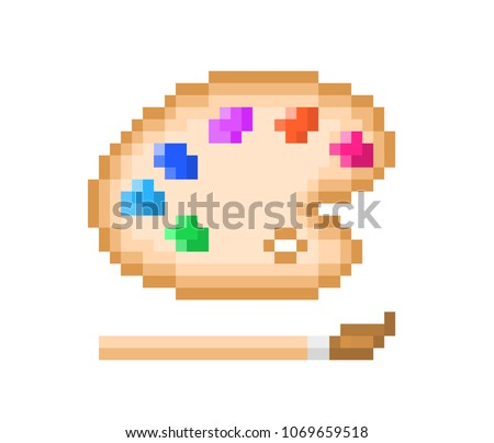 Wooden color palette with colorful oil paint and paintbrush, pixel art icon isolated on white background. Professional painting tools. Art class emblem. Symbol of creativity. Craft studio logotype.