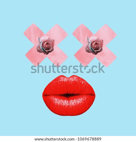 Contemporary art college, red lips, roses eyes #1069678889