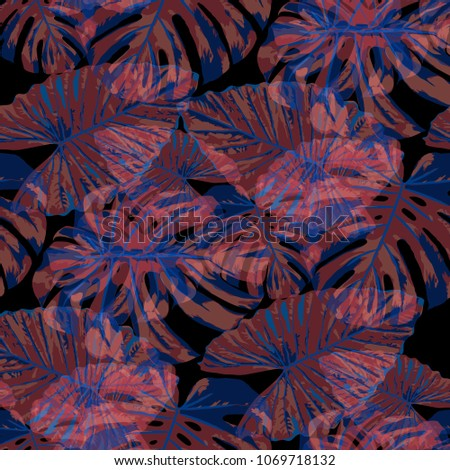 Tropical Pattern. Seamless Texture with Bright Hand Drawn Leaves of Exotic Tree. Bright Rapport for Calico, Textile, Swimwear. Vector Seamless Background with Tropic Plants. Watercolor Effect. #1069718132