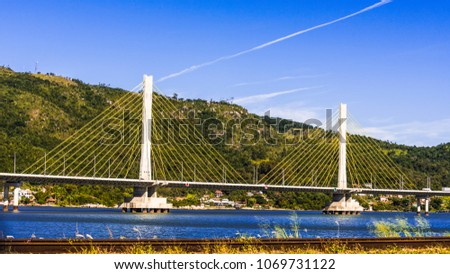 Anita Garibaldi bridge located in the city of Laguna in the southern state of Santa Catarina Brazil, structure with 2815 meters in length Royalty-Free Stock Photo #1069731122