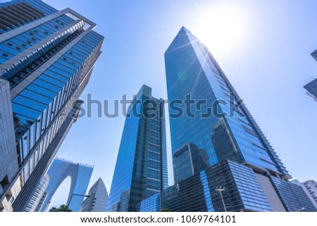 up view of modern office building #1069764101