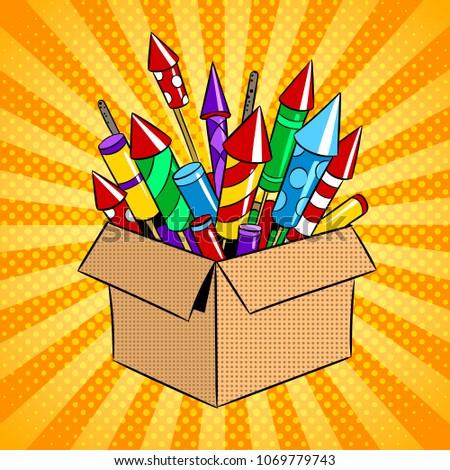 Box with fireworks rockets pop art retro raster illustration. Color background. Comic book style imitation.