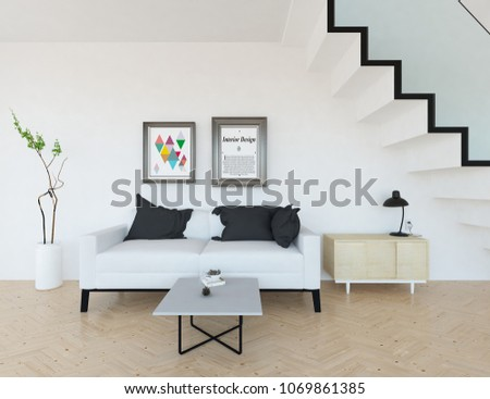 Idea of a white scandinavian living room interior with sofa, dresser, vases on the wooden floor and large wall and white landscape in window. Home nordic interior. 3D illustration #1069861385