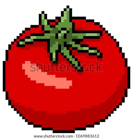 vector pixel art tomato isolated cartoon