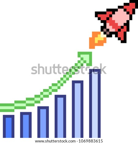 vector pixel art graph rise isolated cartoon