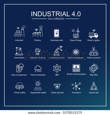 Industry 4.0 and smart productions icon set: smart industrial revolution, automation, robot assistants, cloud and innovation. #1070012579