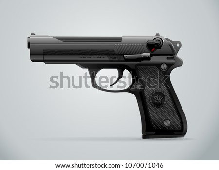 gun black metal weapon vector illustration