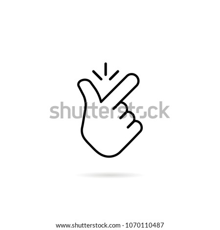 thin line snap finger like easy logo. concept of female or male make flicking fingers and popular gesturing. linear abstract trend simple okey logotype graphic design isolated on white background Royalty-Free Stock Photo #1070110487
