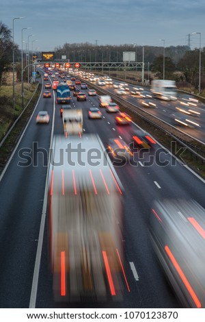 Evening traffic drives along the M42 in Warwickshire as Active Traffic Management is being used to control the flow of vehicles through the lanes #1070123870