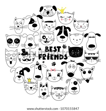 Dog and cat best friends. Hand drawn animals, simple design. Set of cute doodle. Can be used for school book and drawing poster, T-shirt Print and cartoon character.