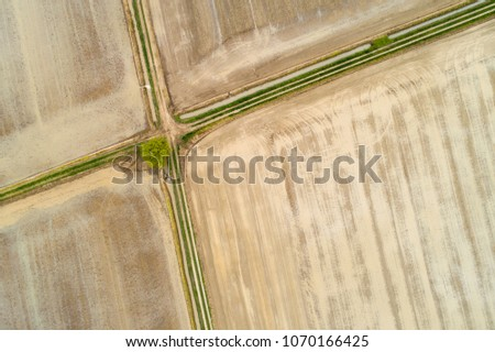 Aerial view of freshly flooded fields for rice cultivation in Piedmont, Northern Italy #1070166425