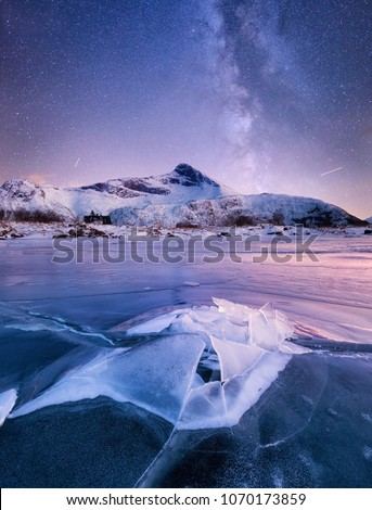 Ice and stars on the night sky. Natural landscape in the Norway #1070173859