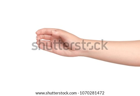 Young woman hand isolated on white background.  #1070281472