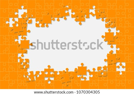 Puzzle background, banner, blank. Vector jigsaw section template. Background with orange puzzle frame separate pieces, mosaic, details, tiles, parts. Rectangle abstract jigsaw. Game group detail. #1070304305