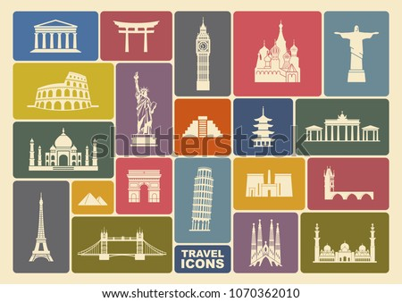 World Landmark Icon Set. Flat vector illustration #1070362010
