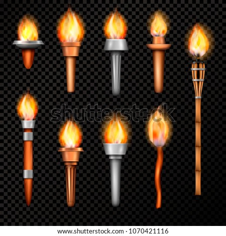 Torch realistic set with isolated hand cresset images of various shape with flame on transparent background vector illustration