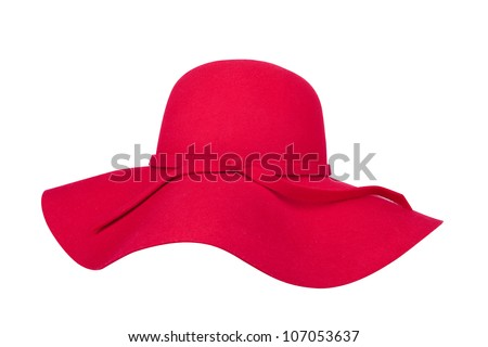 Woman`s summer red straw hat isolated on white background #107053637