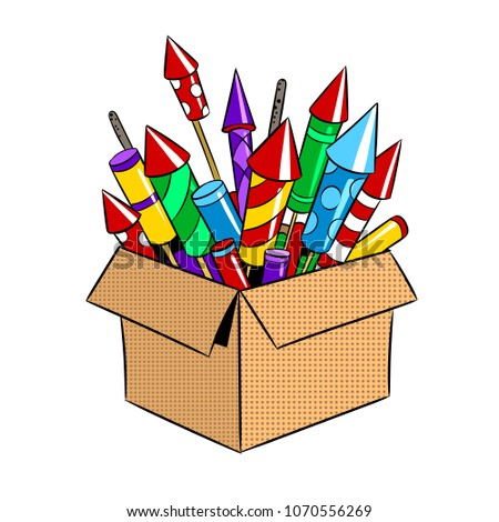 Box with fireworks rockets pop art retro raster illustration. Isolated image on white background. Comic book style imitation.