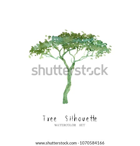 tree watercolor set nature garden painting tree silhouette landscape architecture element isolated on white background ; art hand drawn green trees illustration brush sketch design watercolour . #1070584166