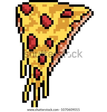vector pixel art pizza piece isolated cartoon