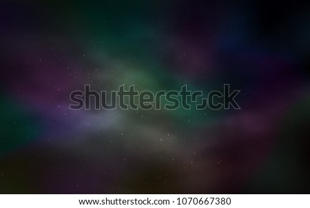 Dark Green vector texture with milky way stars. Shining illustration with sky stars on abstract template. Best design for your ad, poster, banner. #1070667380