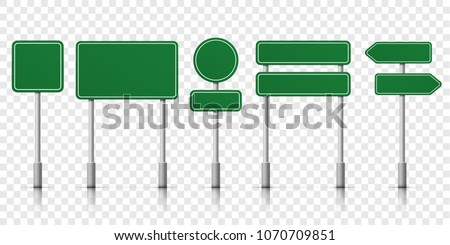 Road signs blank icons. Vector green plate road signs templates for direction Royalty-Free Stock Photo #1070709851