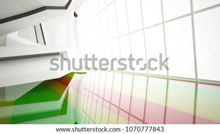 Abstract white and colored gradient glasses interior multilevel public space with window. 3D illustration and rendering. #1070777843