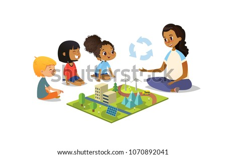 Female teacher discusses ecology Green-city using model landscape, children sit on floor in circle and listen to her. Preschool activities and early childhood education. Vector illustration.