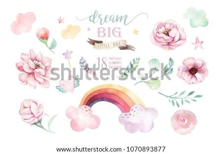 Isolated cute watercolor unicorn clipart. Nursery unicorns illustration. Princess rainbow poster. Trendy pink cartoon pony horse.