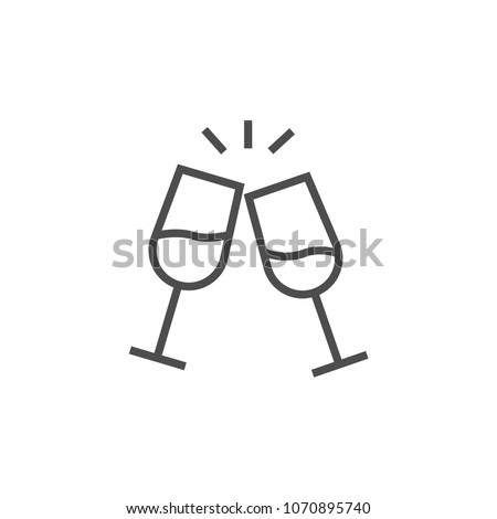 Vector champagne glasses icon flat style