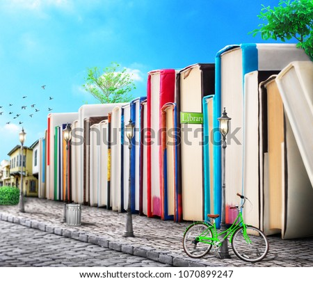 Education concept. Campus. Stack of books as buildings on a street. Books avenue. 3d illustration.