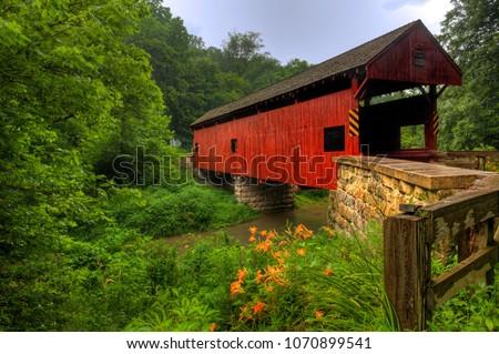 The Longdon Covered Bridge in Pennsylvania #1070899541