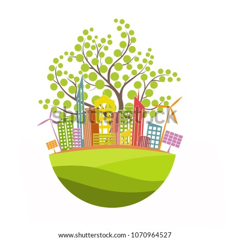 The city on the globe. Environmentally friendly world. Illustration of ecology the concept of info graphics. Icon. Simple modern minimalistic style. Simple illustrated illustration for printing, web #1070964527