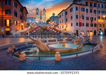 Rome. Cityscape image of Spanish Steps in Rome, Italy during sunrise. #1070992193