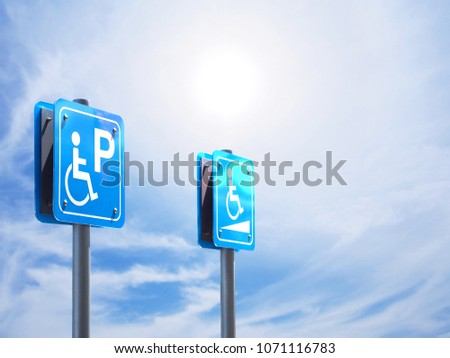 Handicapped parking and slope way sign for wheelchair people isolated over blue sky background.