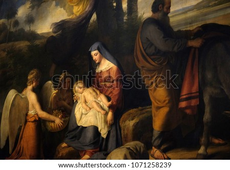 PARIS, FRANCE - JANUARY 10: Flight into Egypt, altarpiece in the Saint Nicholas des Champs Church, Paris, France on January 10, 2018. #1071258239