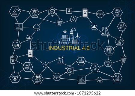 Industry 4.0 infographic and Smart manufacturing concept. Industrial 4.0 process system on industrial factory and connection with automation, robot, data management. #1071295622