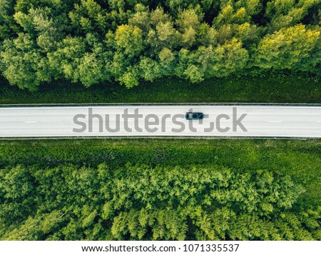 Aerial view of green summer forest with a road. Captured from above with a drone #1071335537