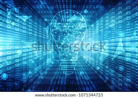 Bulb future technology, innovation background, creative idea concept, technology background #1071344723
