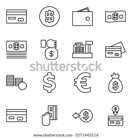 Flat vector icon set - credit card vector, dollar, wallet, money, investment, cashbox, coins, euro, bag, cash pay, back #1071443516
