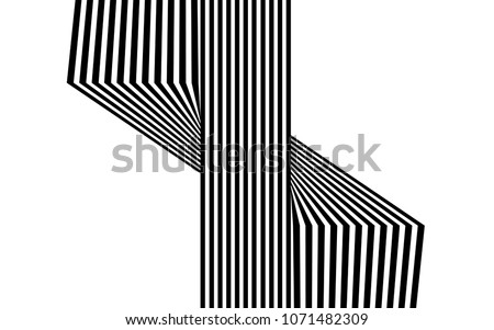 black and white stripe line abstract graphic optical art #1071482309