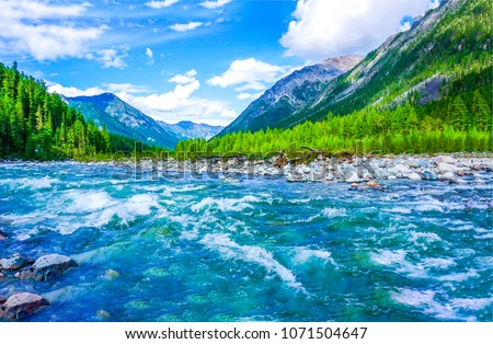 Mountain river water landscape. Wild river in mountains. Mountain wild river water view #1071504647