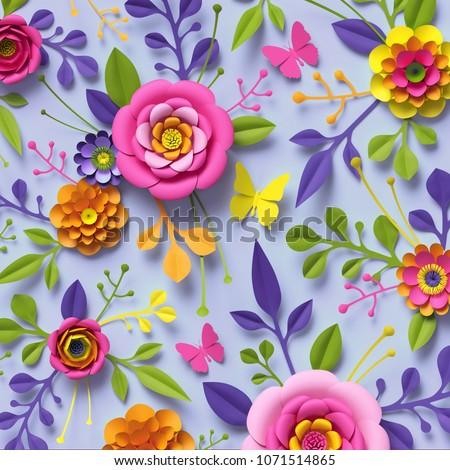 3d render, craft paper flowers, festive floral bouquet, botanical arrangement, bright candy colors, nature clip art isolated on sky blue background, decorative embellishment