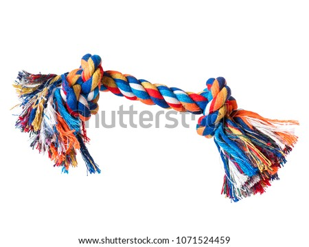 Dog toy - colorful cotton rope for games, isolated on white background with copy space #1071524459