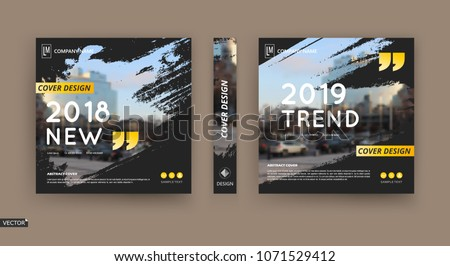 Abstract patch brochure cover design. Black info data banner frame. Techno title sheet model set. Modern vector front page art. Urban city blurb texture. Yellow citation figure icon. Ad flyer text  #1071529412