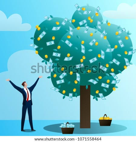 The businessman grows up a big monetary tree, waters, drips and rejoices. The person invests in the business. Successful start-up. Concept of business situation. Flat vector illustration clip art. #1071558464